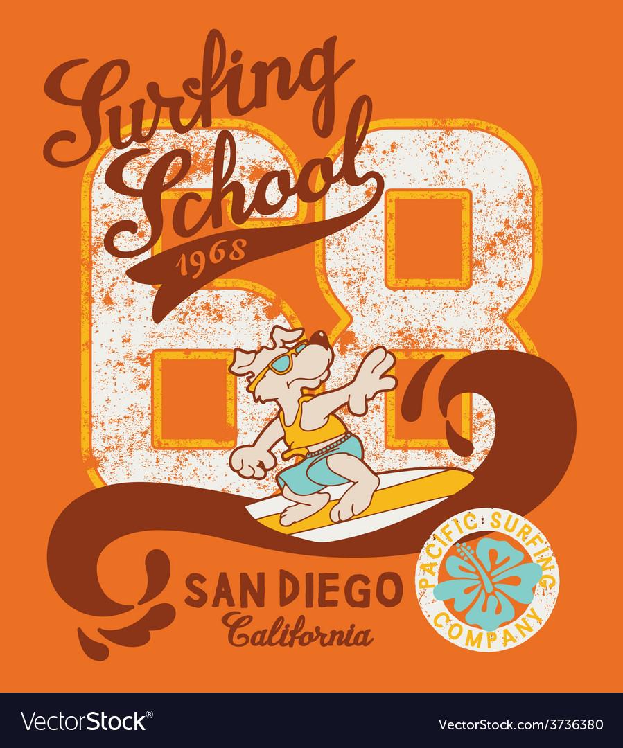 Cute surfing dog school vector image