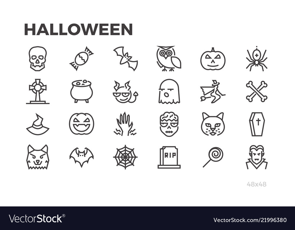 Halloween thin line icons pumpkins witches