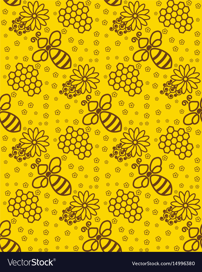 Honey Pattern Wallpaper With A Bee Background For