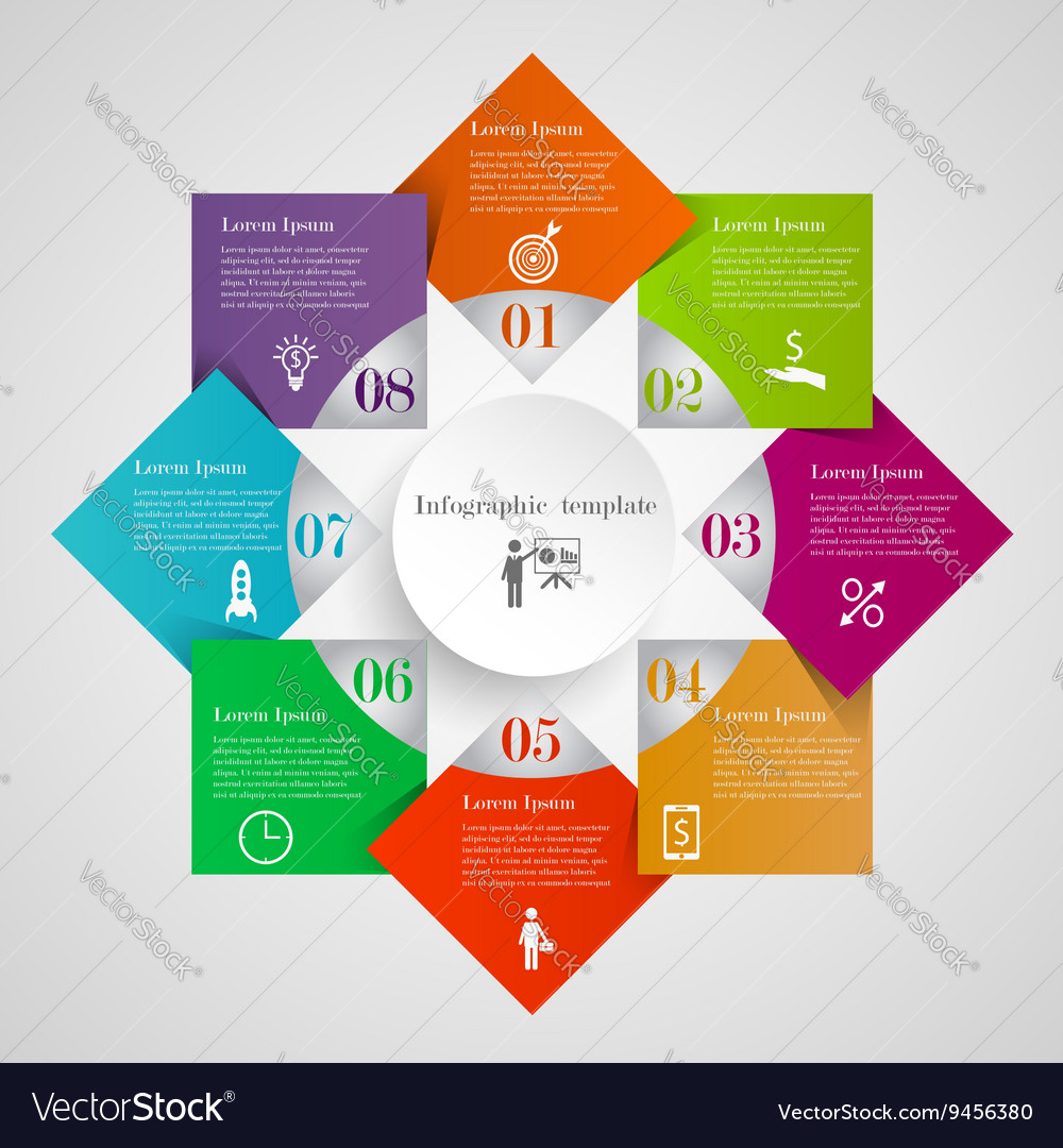 Infographic Circle Flowchart Template Royalty Free Vector