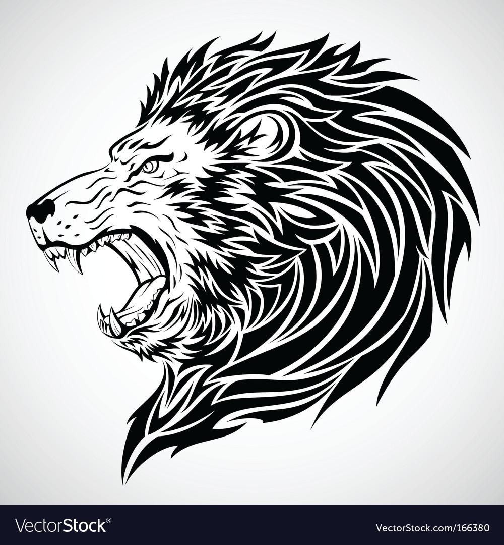 Lion roar tattoo vector image