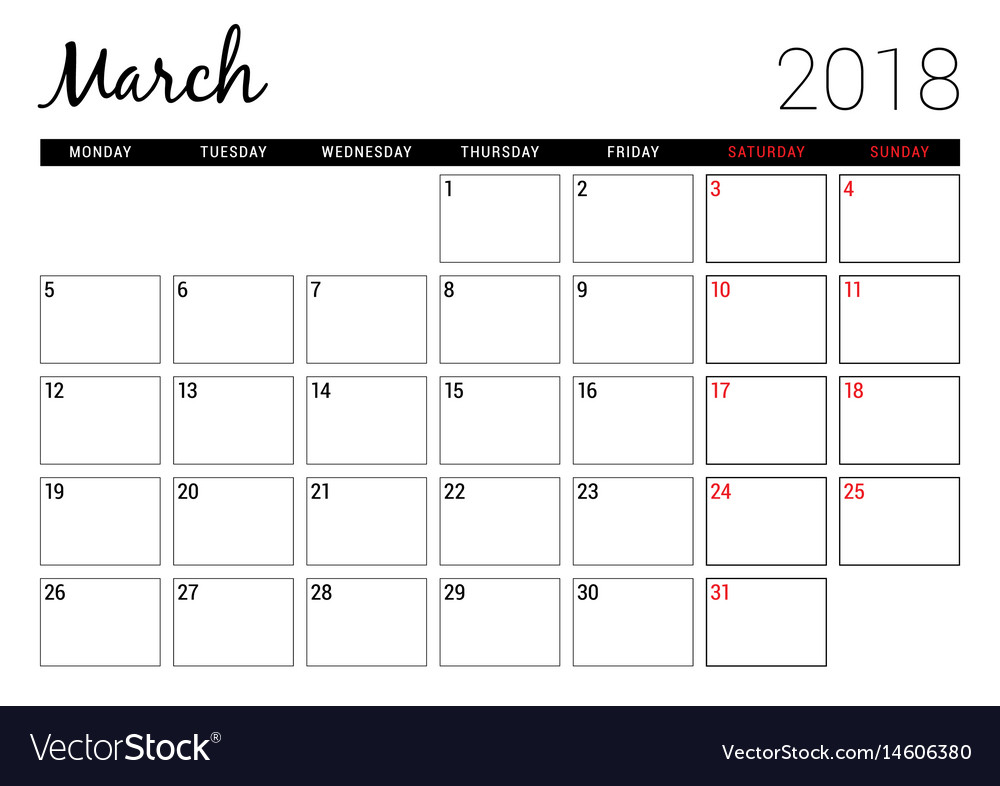 March 2018 printable calendar planner design