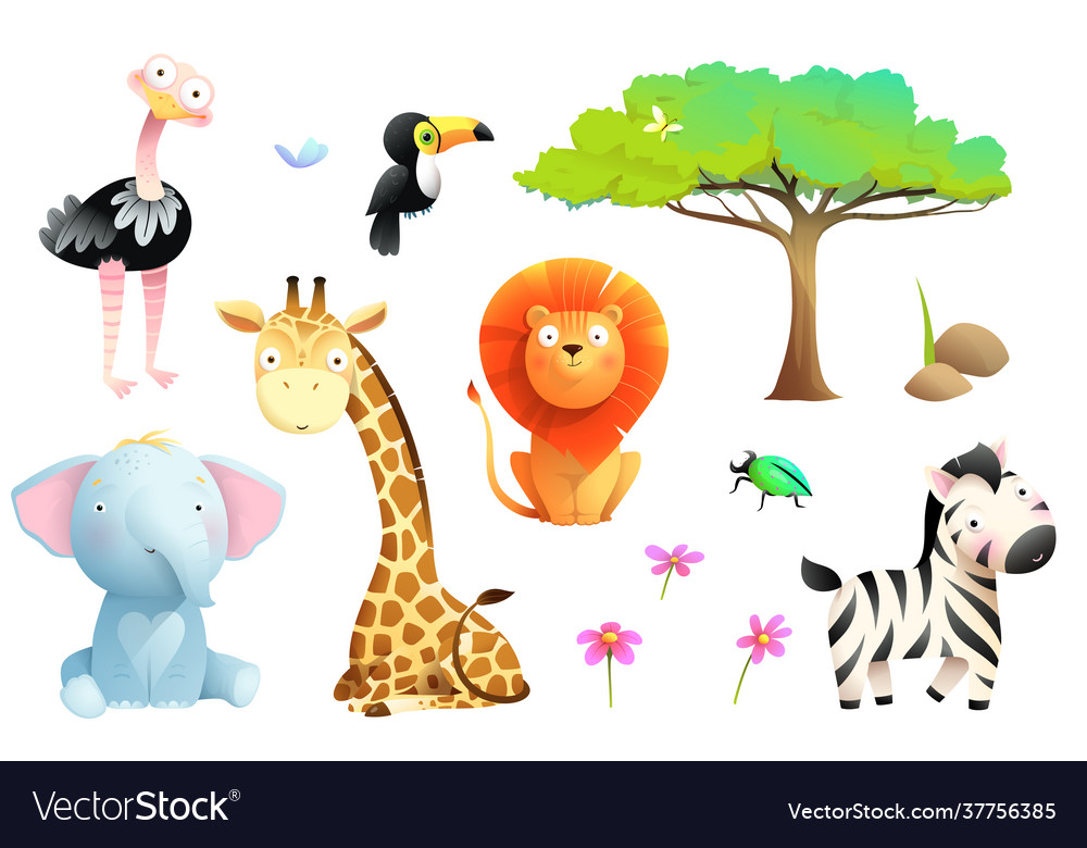 African zoo or safari animals for children clipart