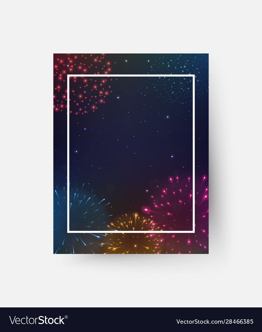Colorful fireworks party celebrations flyer design