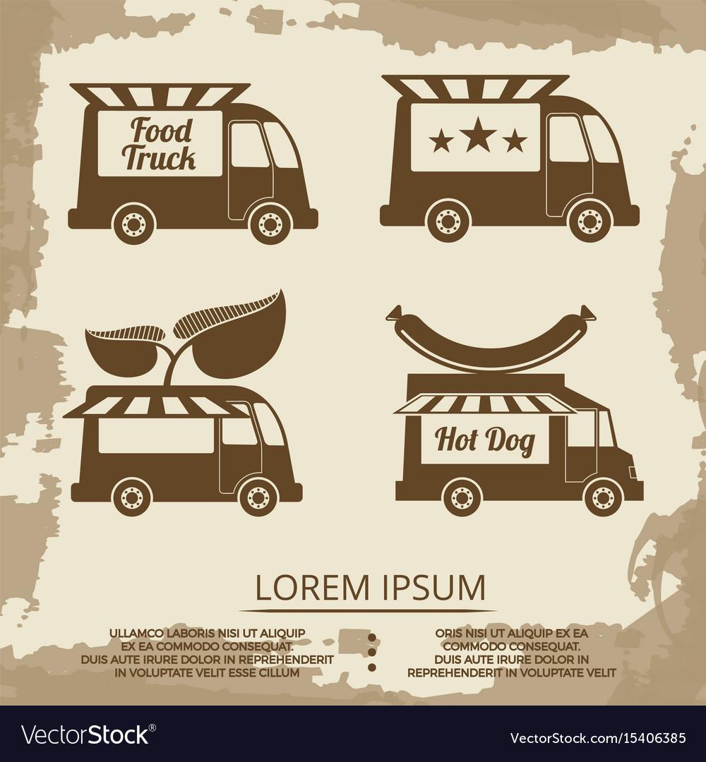 Food trucks set - vintage poster with food truck