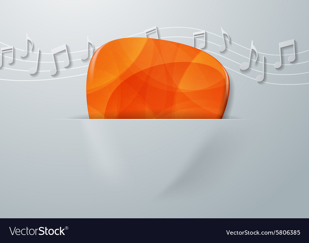 Guitar Pick and Music Notes on White Paper