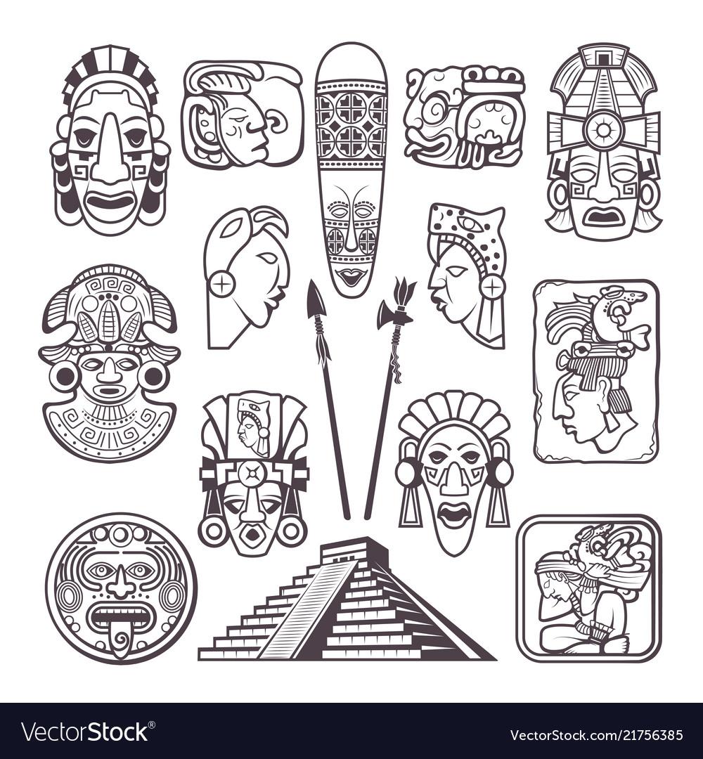 Monochrome pictures set of mayan culture symbols