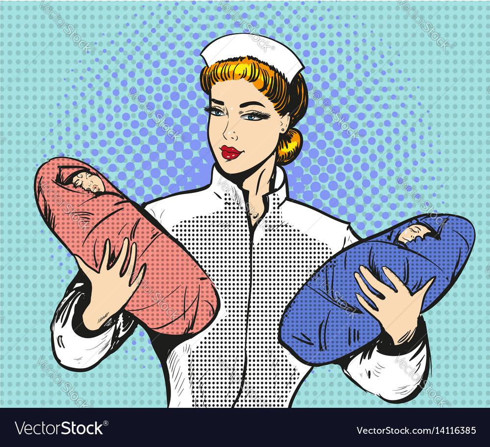 Pop art of maternity nurse