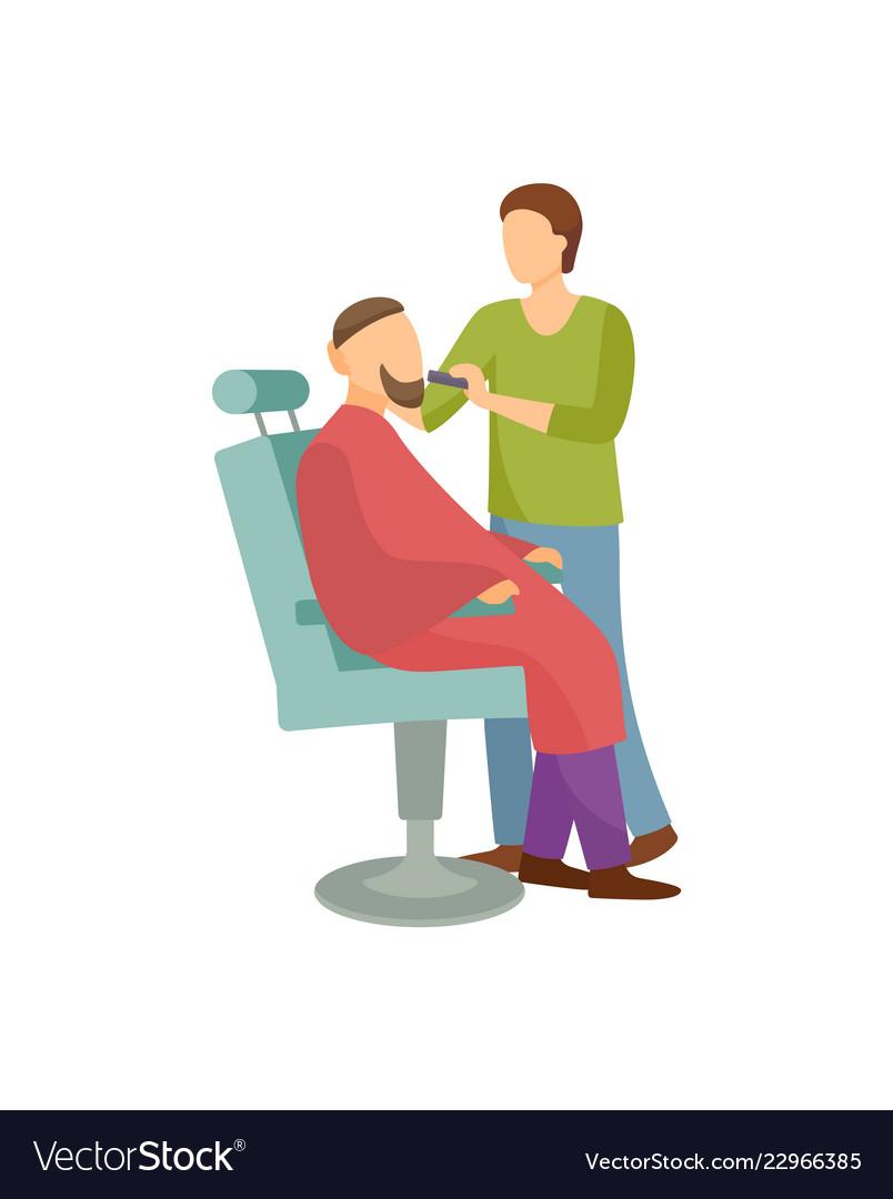Procedure for men in barber shop cartoon banner