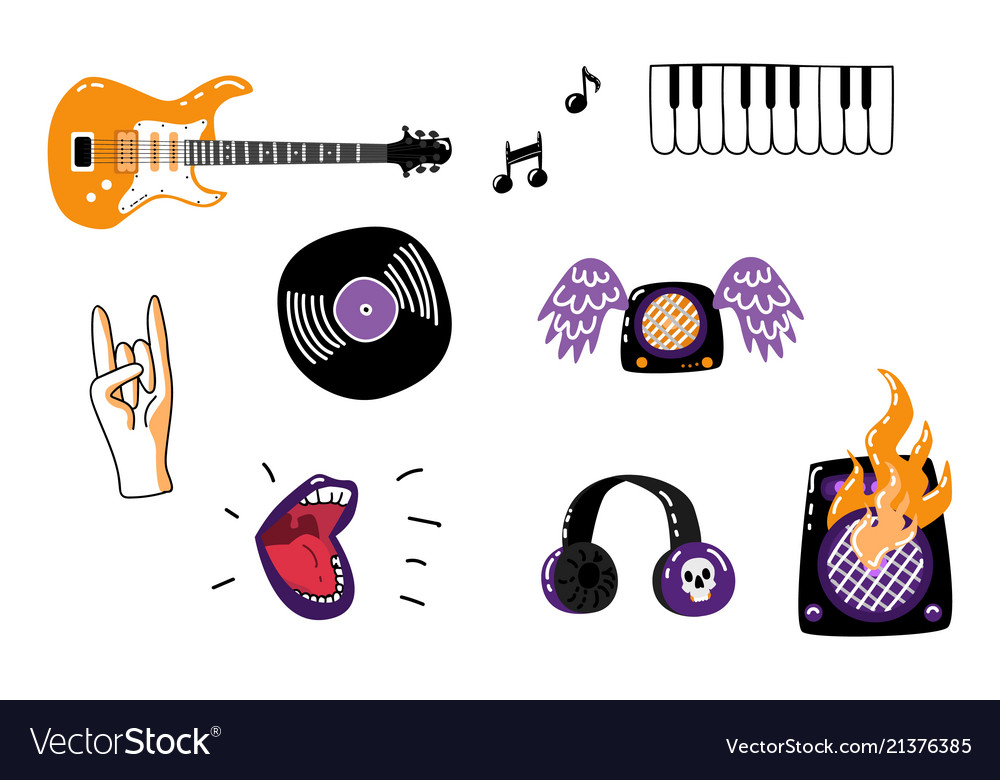 Rock Music Attributes Symbols Icon Set Royalty Free Vector