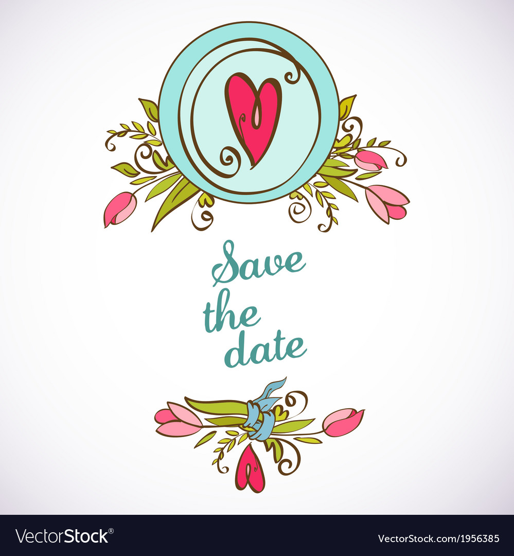 Save the date floral card vintage invitation vector image stopboris
