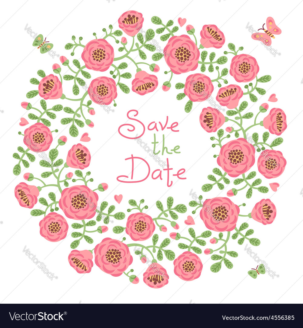 Save The Date Invitation with Floral Wreath