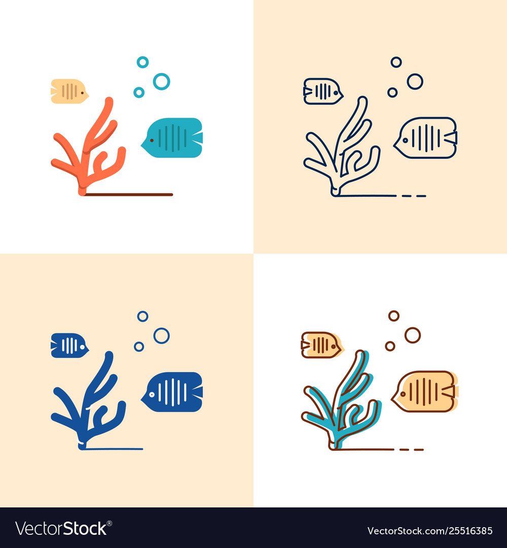 Sea coral and fish icon set in flat and line style