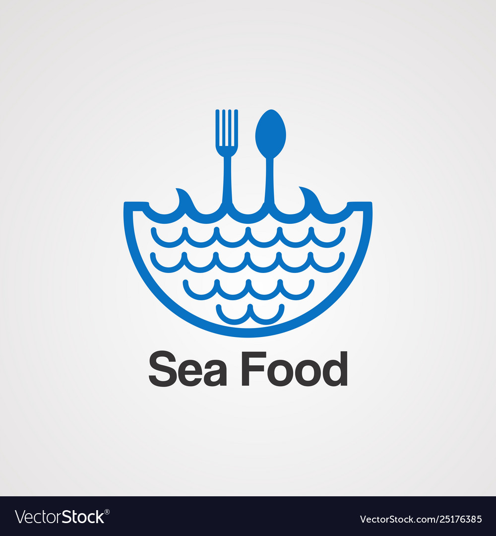 Sea food with water wave logo concept icon