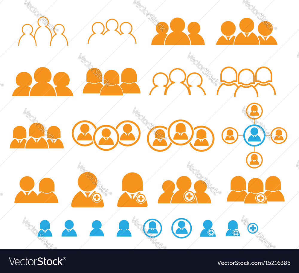 Set of people user teamwork icon