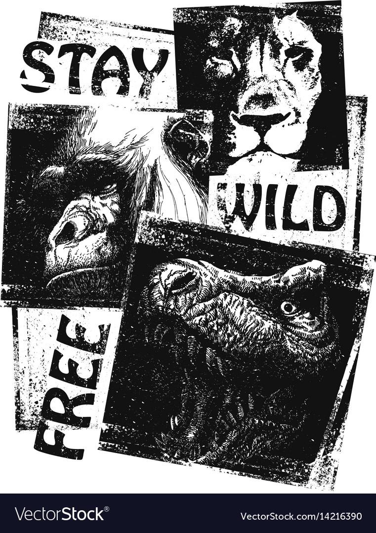 Animals hand drawn collage