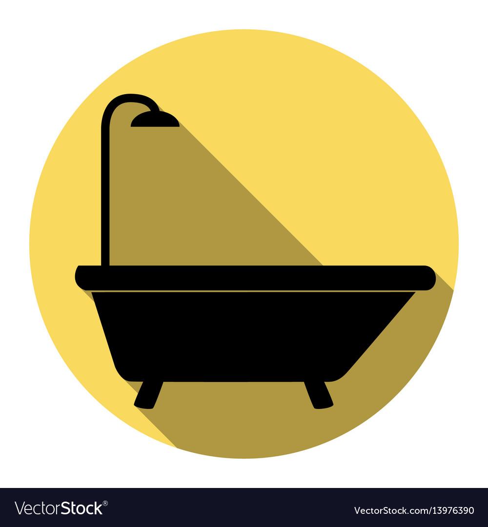 Bathtub sign flat black icon with flat