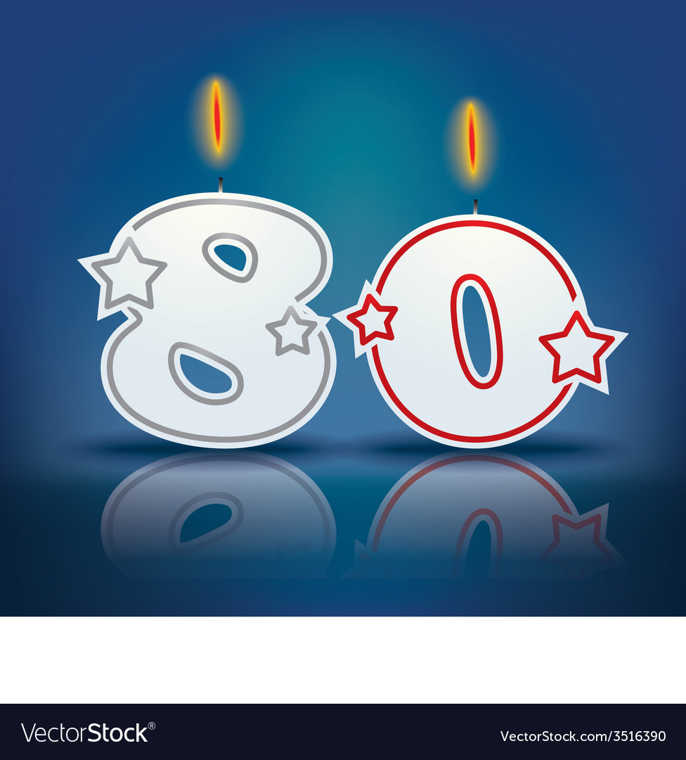 Birthday Candle Number 80 Vector Image