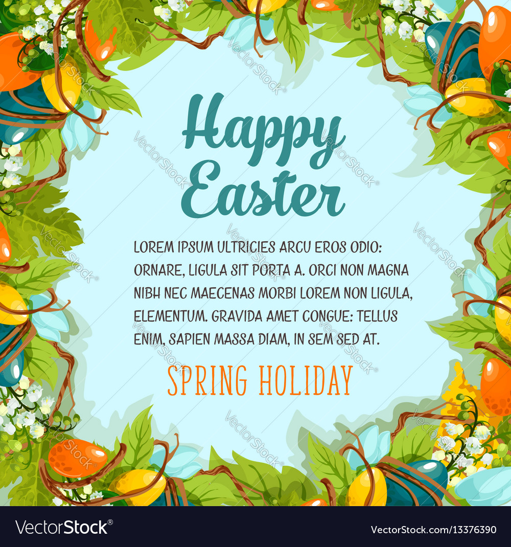 Easter card with floral wreath of eggs and flowers
