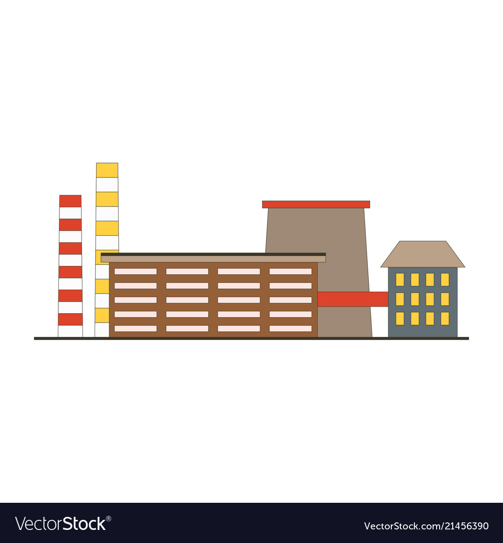 Factory building game app icon in flat style