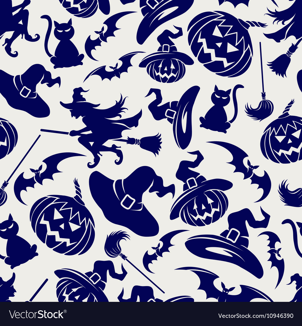 Halloween seamless blue pattern