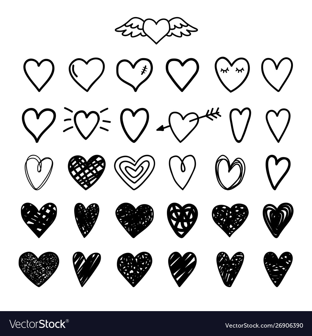 Hand drawn painted hearts