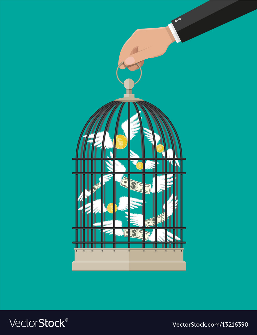 Hand holds cage with flying money