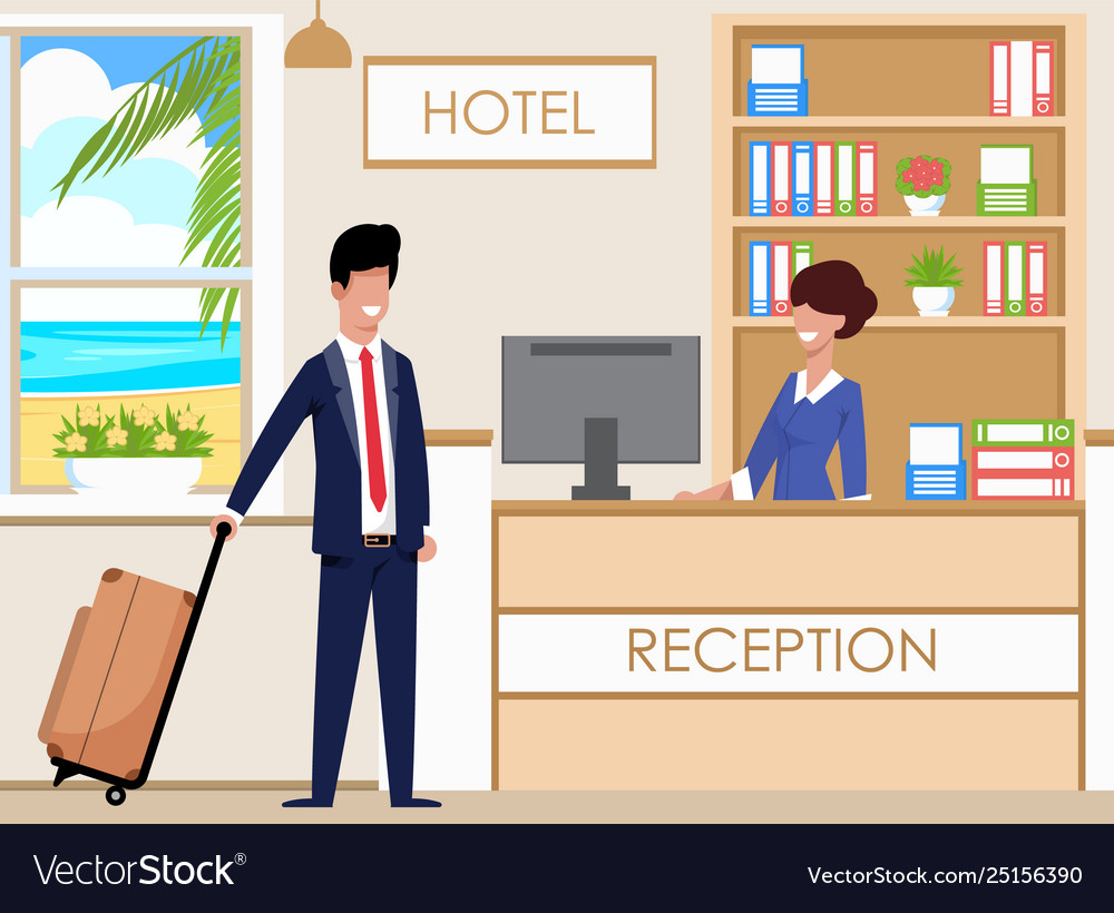 Hotel reception accommodates guests cartoon