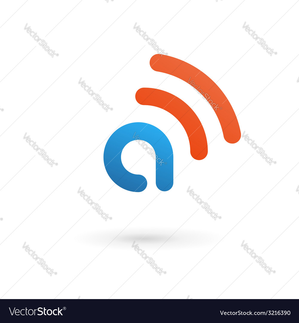 Letter A wireless logo icon design template vector image