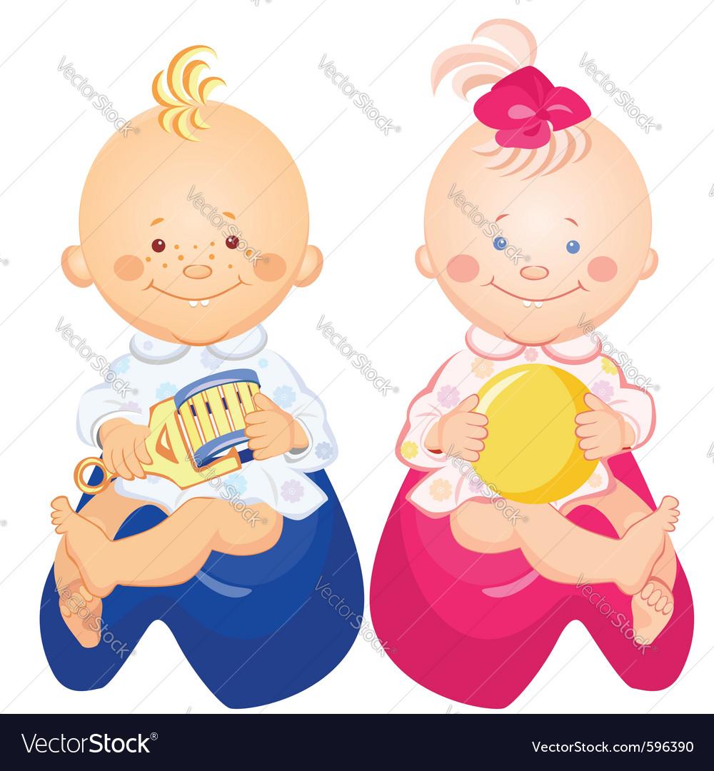 Little baby boy and girl