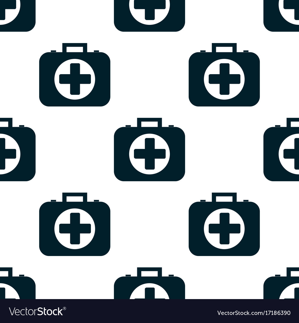 Pattern of the first aid kit isolated on white