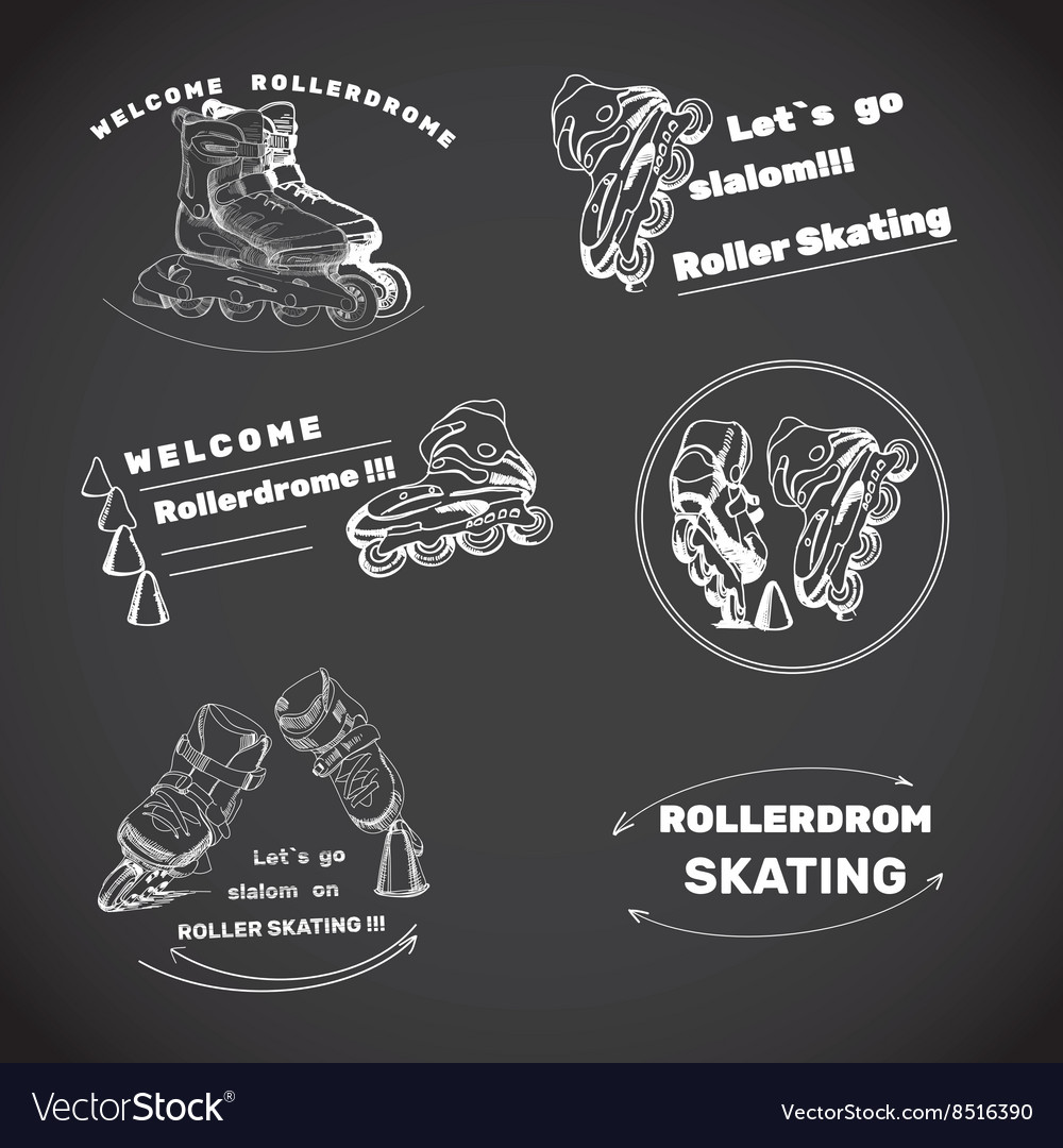 Set for Roller Skates with text Hand drawn logos