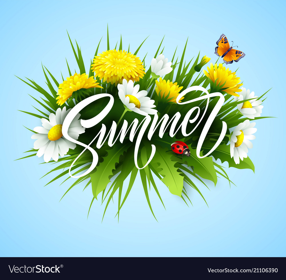 Summer handwriting lettering with summer flower