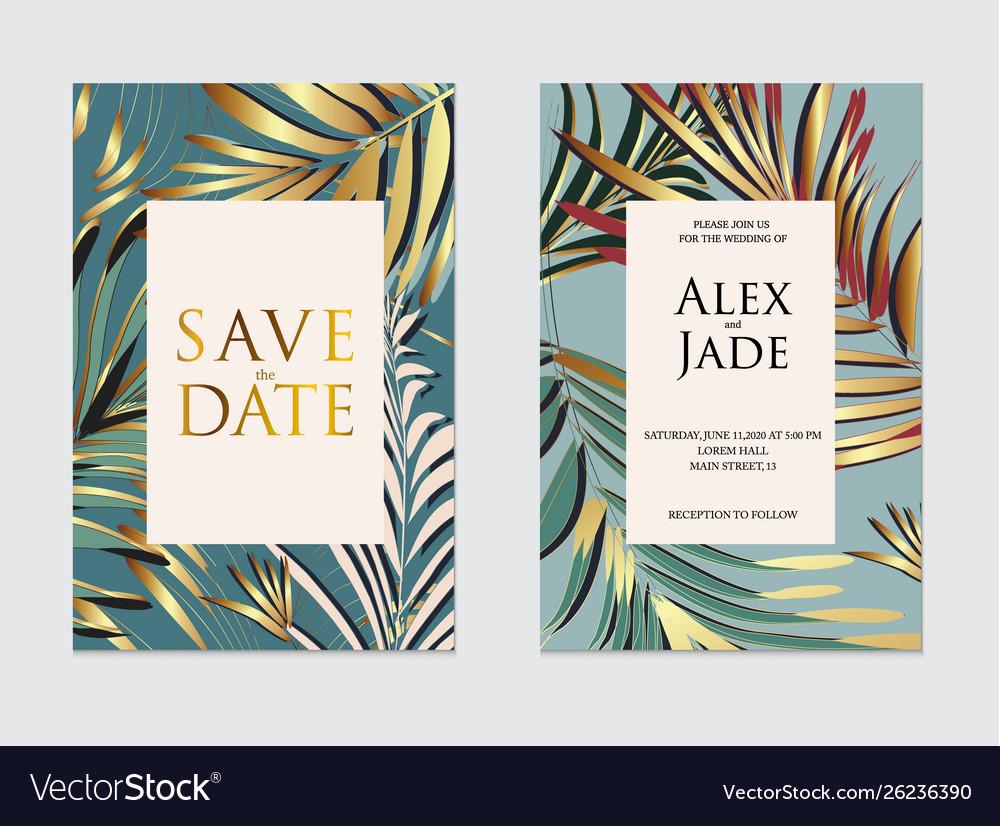 Wedding invitation frame set plam leaves gold