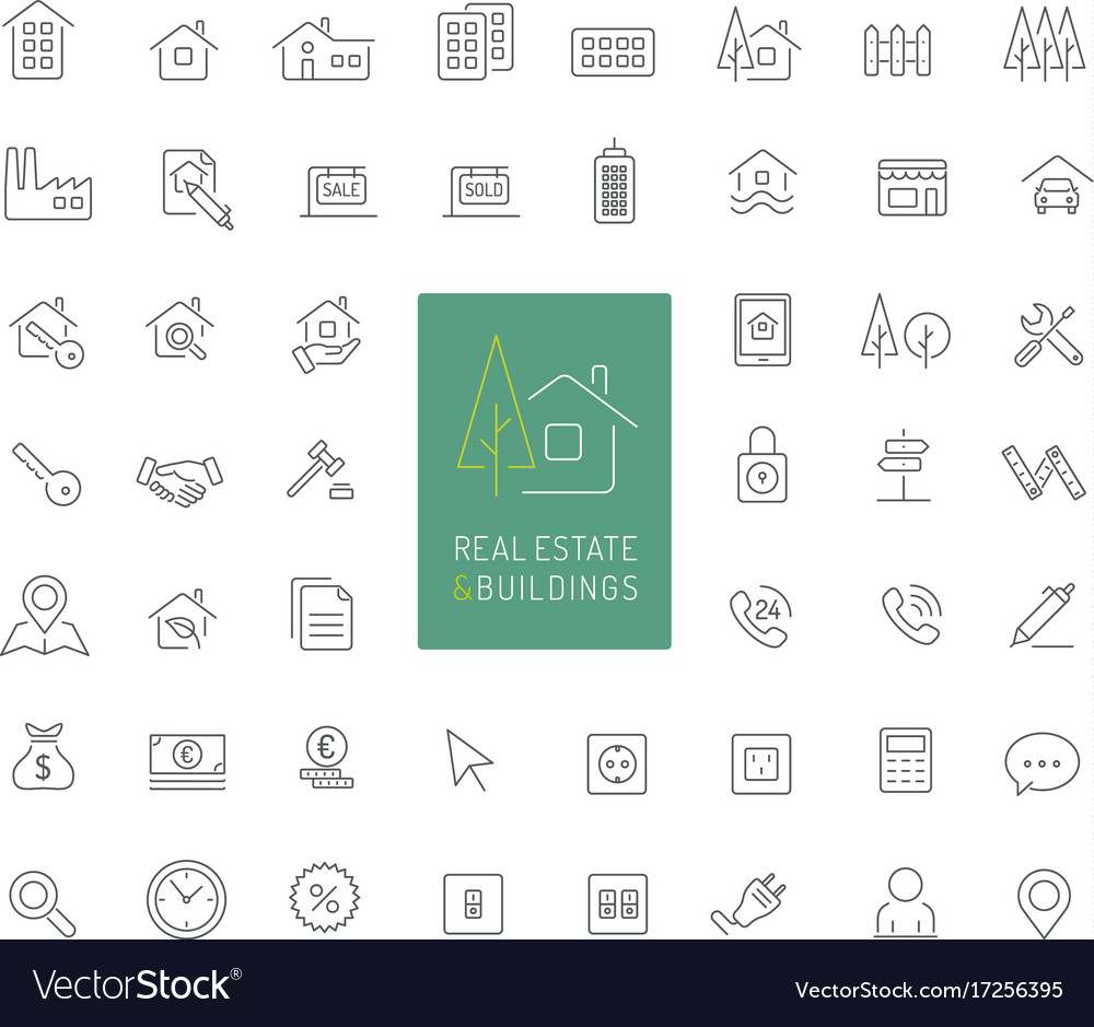 50 real estate and buildings thin line icons