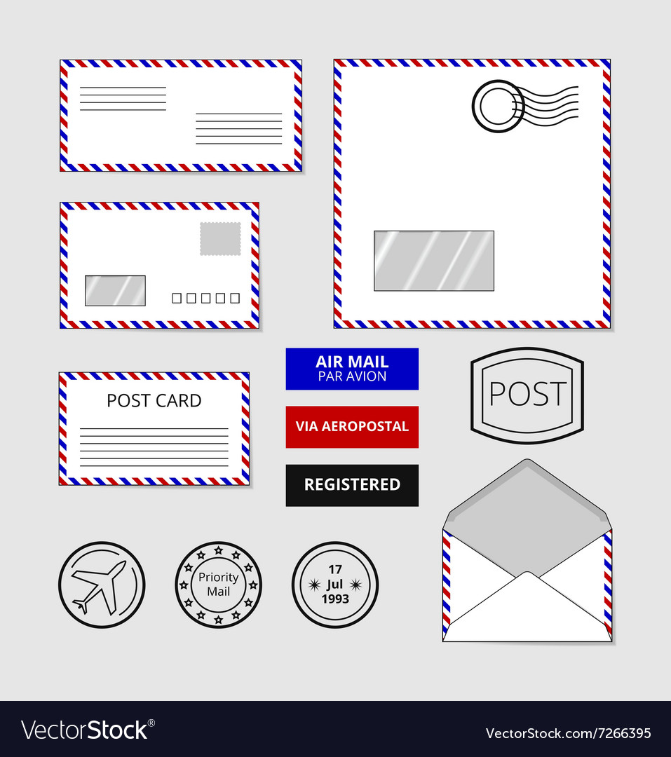 Airmail envelopes postcard and badges set