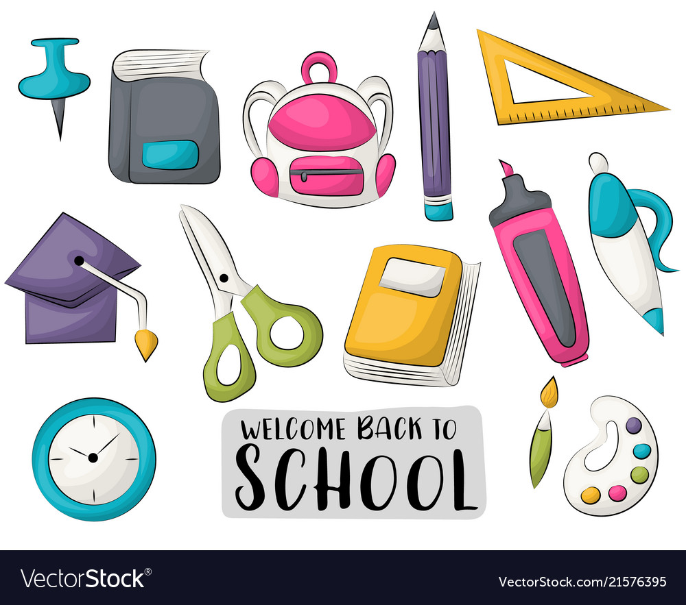 Back to school icons set colorful hand drawn