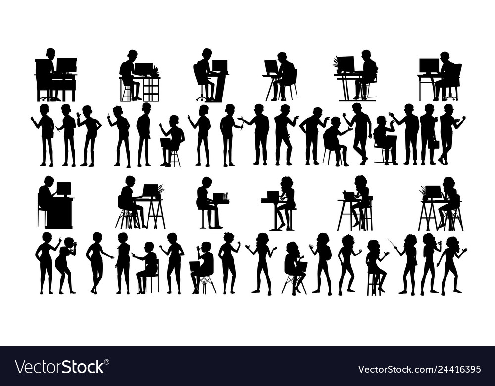 Business people silhouette set male