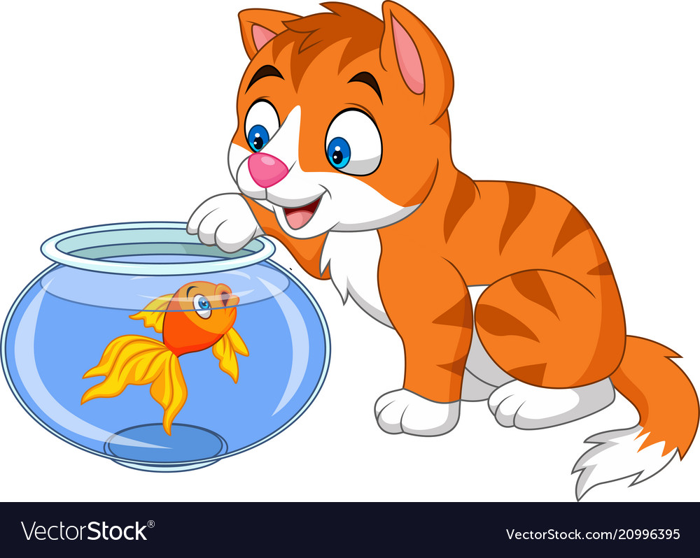 Cartoon little cat playing with gold fish vector image