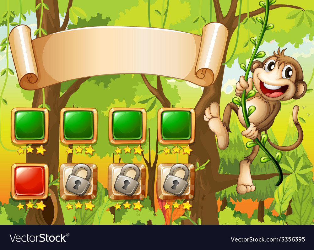 Monkey game design vector image