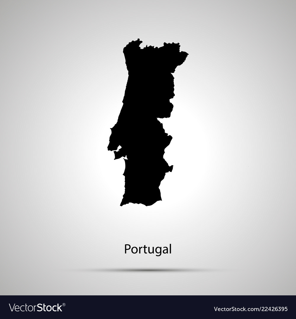 Portugal country map simple black silhouette on
