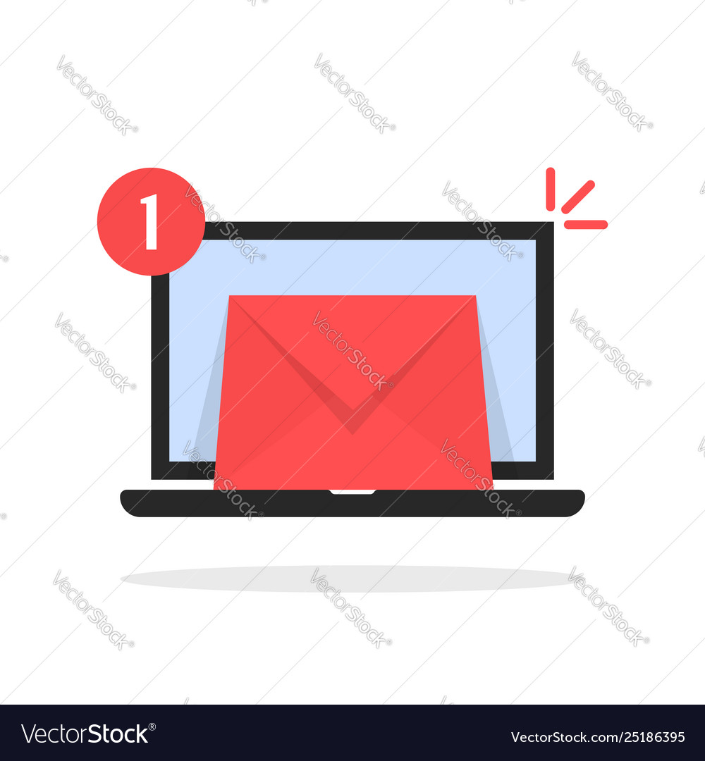 Red email message icon with laptop