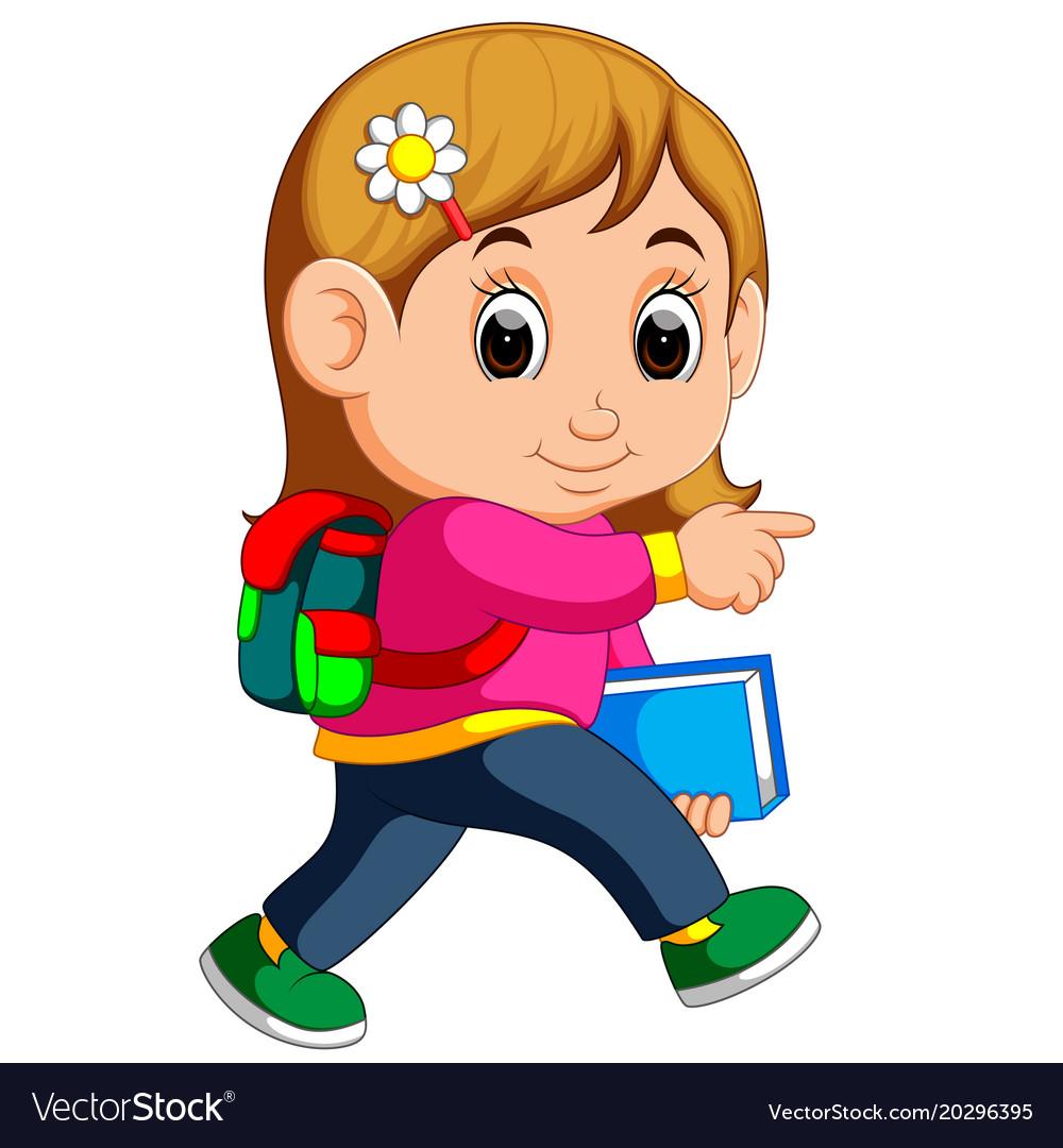 school girl cartoon walking royalty free vector image