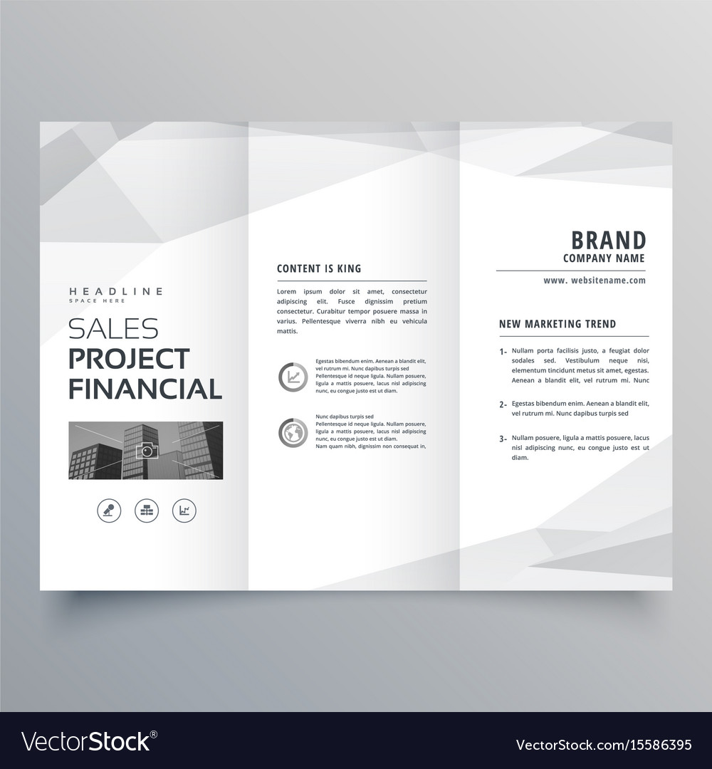 simple trifold brochure template design with vector image