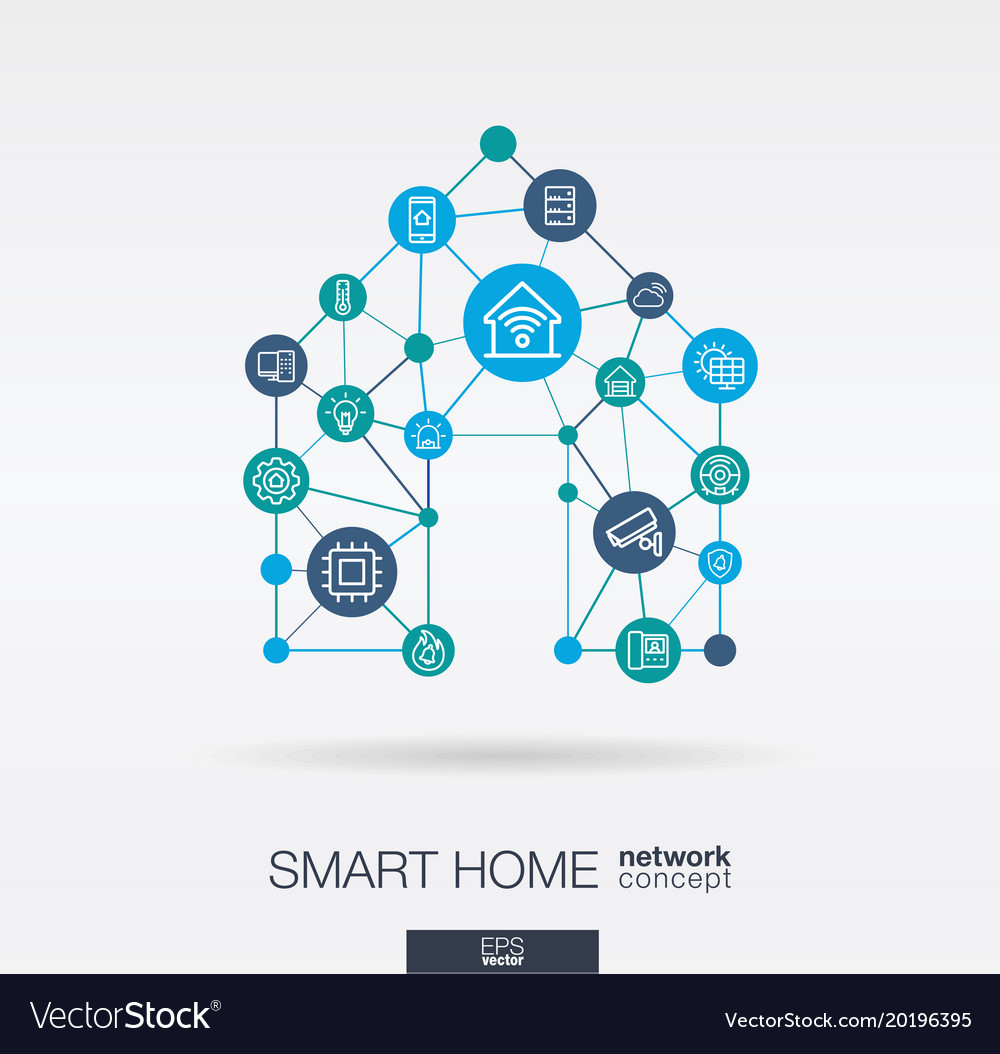 Smart home integrated thin line icons digital