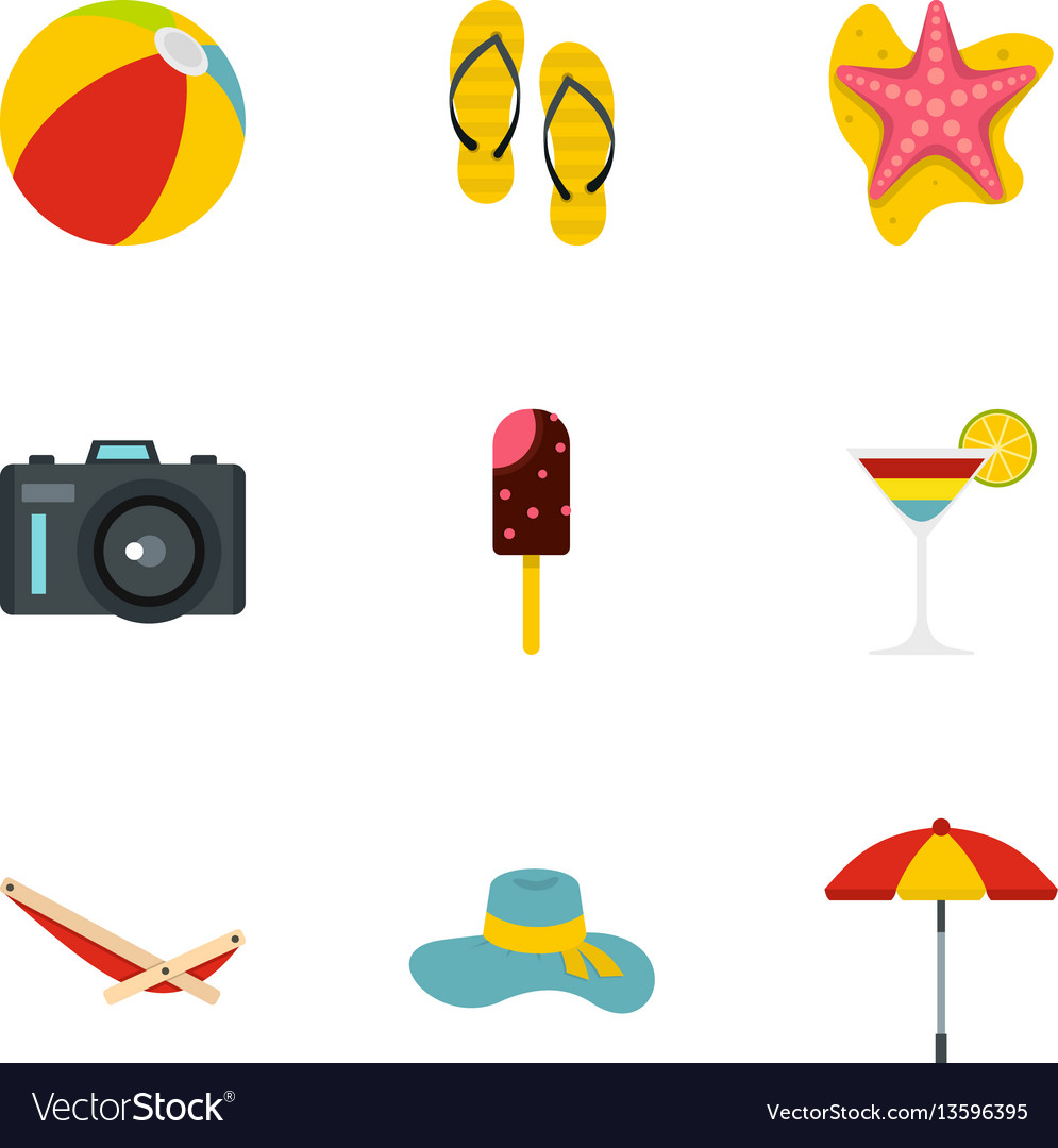 Summer time icons set flat style