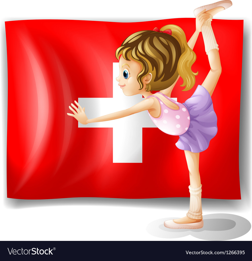 The flag of Switzerland and the young ballet vector image