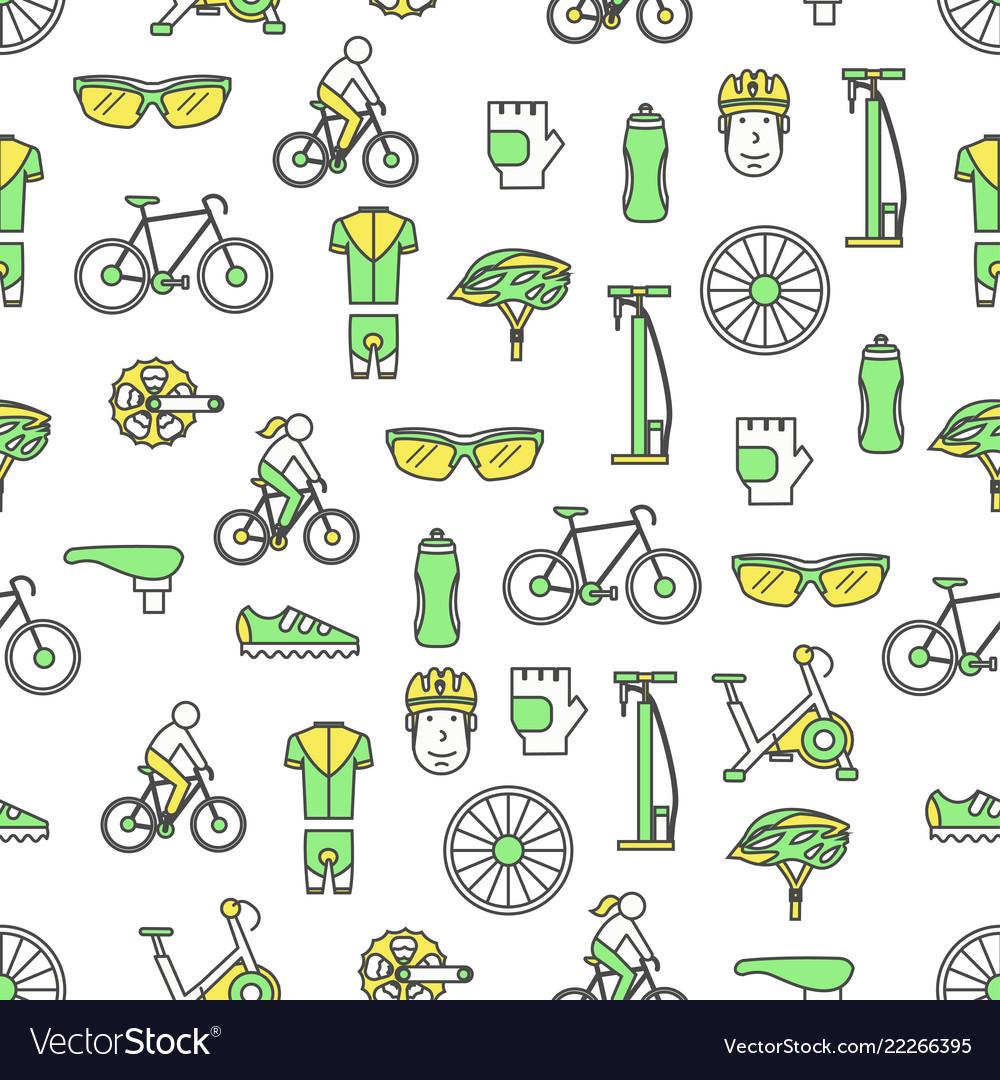 Thin line art bicycle seamless pattern