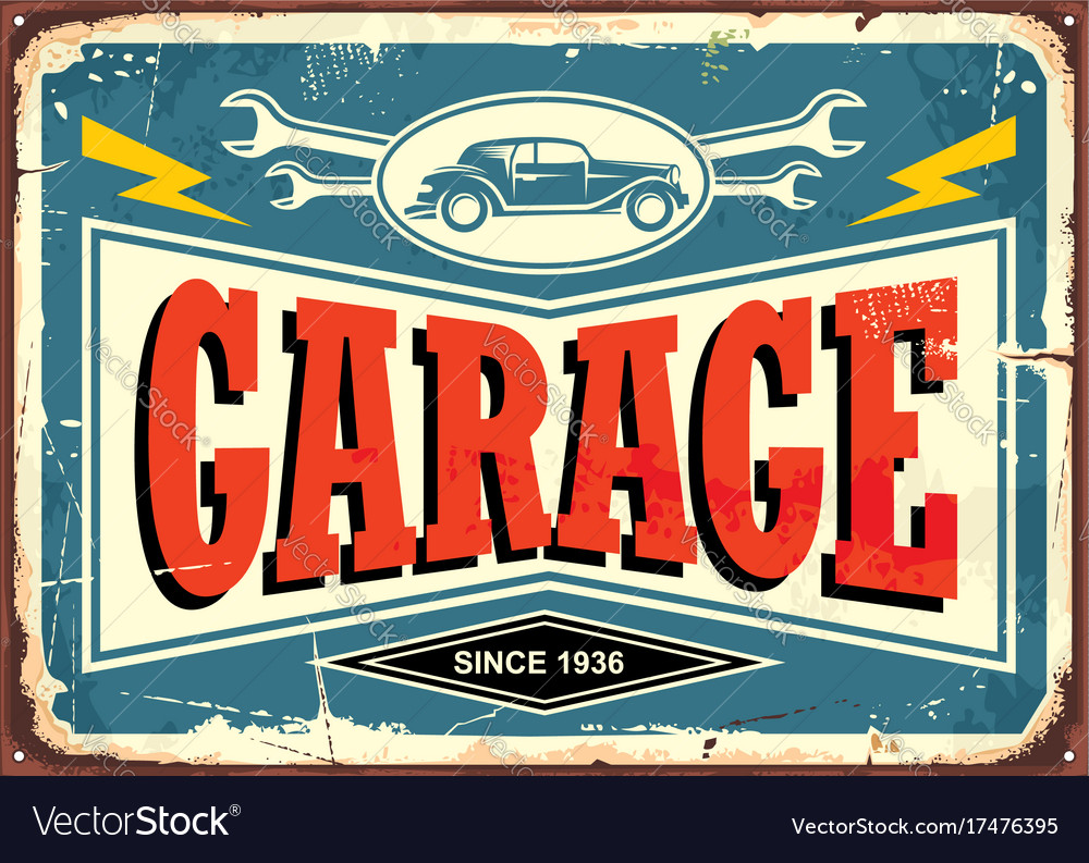 Vintage Garage Sign Vector Image