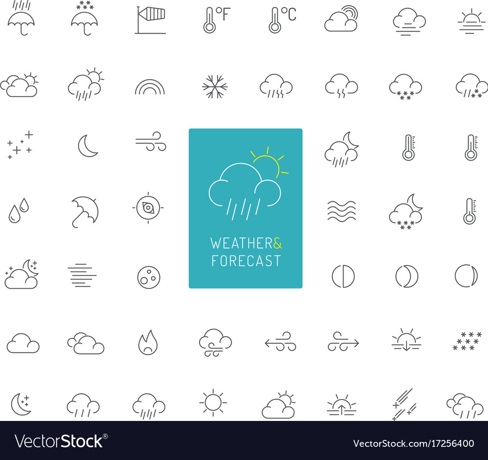 50 weather and forecast thin line icons